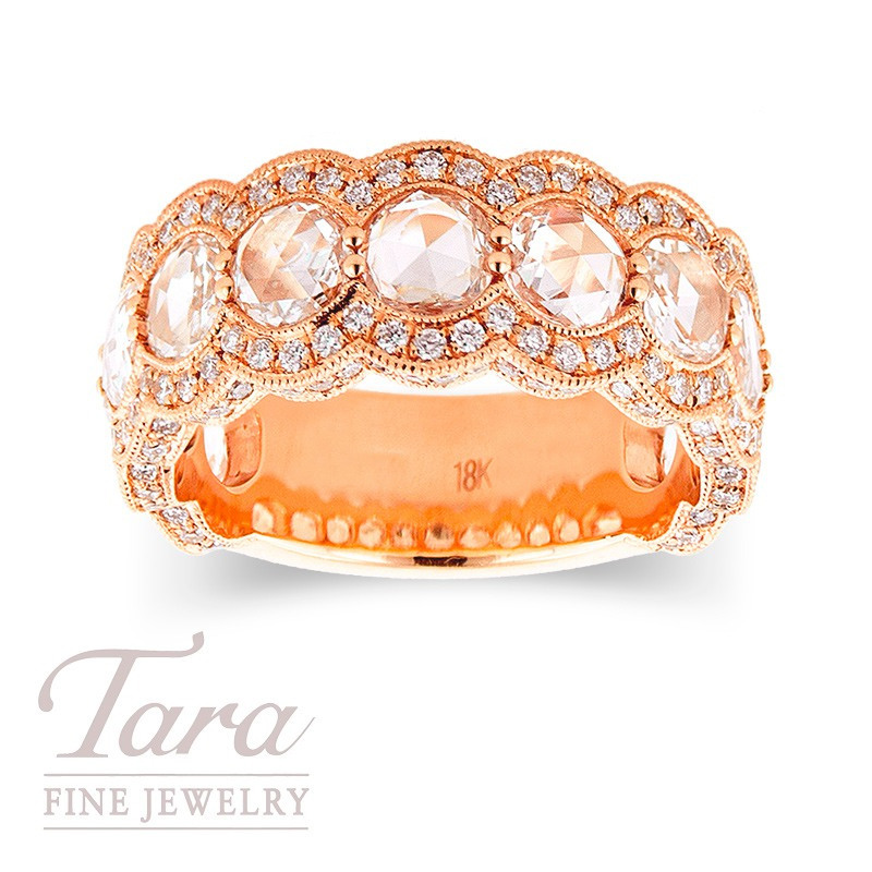 Diamond Ring in 18k  Rose Gold .68 TDW Rounds 2.02 TDW Rose Cut Diamonds, 8.1g