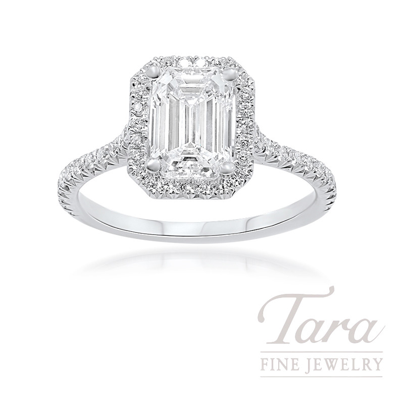 18k white gold emerald cut diamond halo engagement ring 1. Black Bedroom Furniture Sets. Home Design Ideas