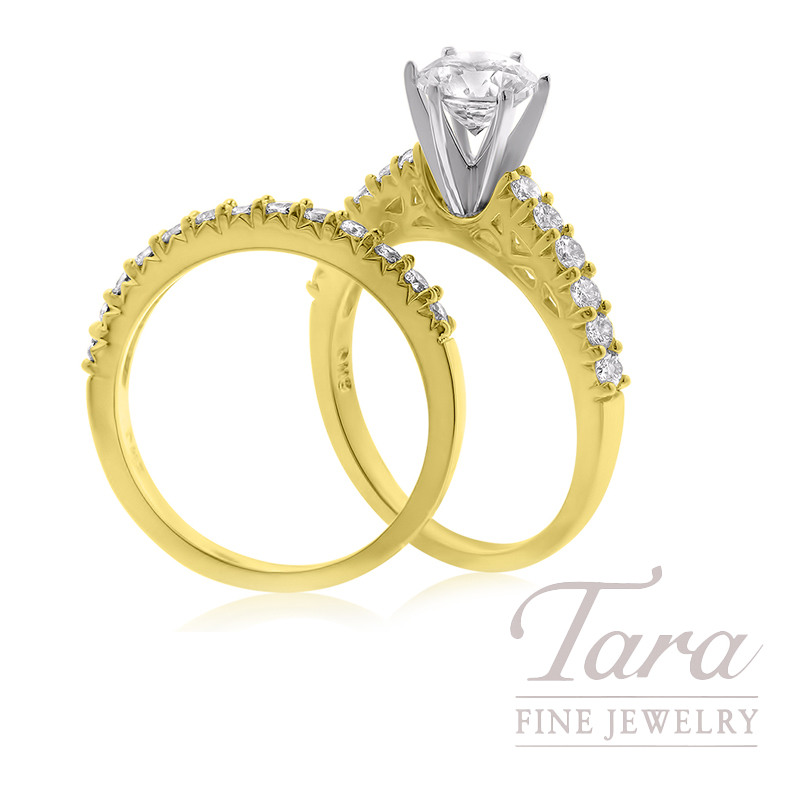 18k Yellow Gold Wedding Set, .79TDW (Center Stone Sold Separately)