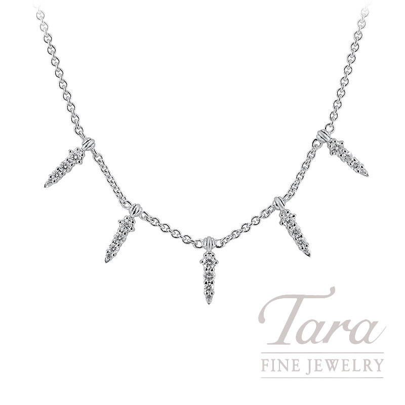 "Norman Covan 18k White Gold Diamond Necklace, 16/18"" Chain, 9.5G, .75TDW"