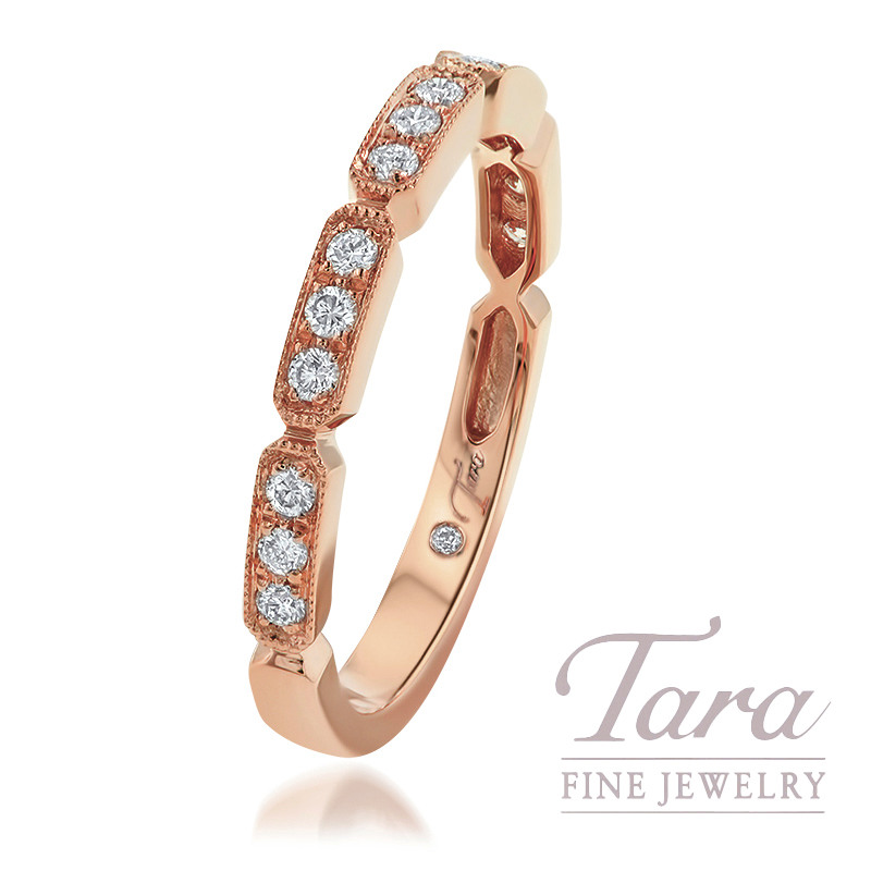 18K Rose Gold Diamond Bezel Band, 2.3G, .20TDW