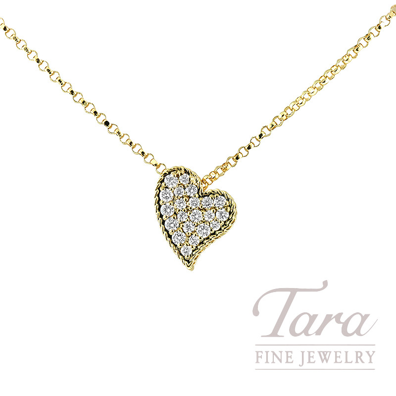 Roberto Coin 18K Yellow Gold Diamond Heart Pendant with Chain; 22 Round Diamonds 0.15TDW