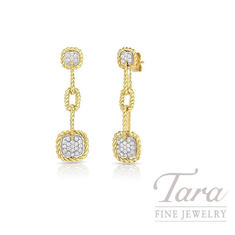 Roberto Coin 18K Yellow Gold Barocco Square Diamond Station Earrings, .50TDW, Barocco Collection