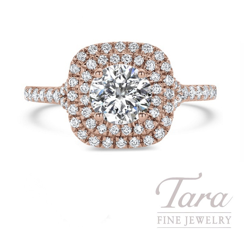 Ritani 18k Rose Gold Double Diamond Halo Engagement Ring, .60TDW (Center Stone Sold Separately) - Click for Available Sizes!