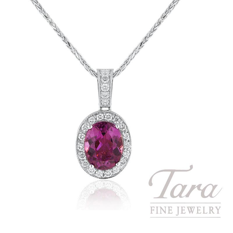 18k White Gold Pink Tourmaline and Diamond Pendant, 3.16CT Pink Tourmaline, .36TDW Diamonds