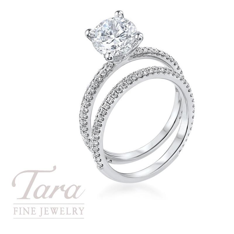 18K White Gold Diamond Wedding Set, .66TDW (Center Stone Sold Separately)