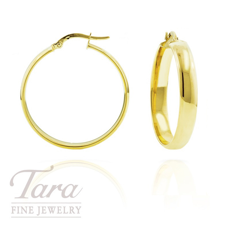 14k Yellow Gold Italian Medium Hoop Earrings