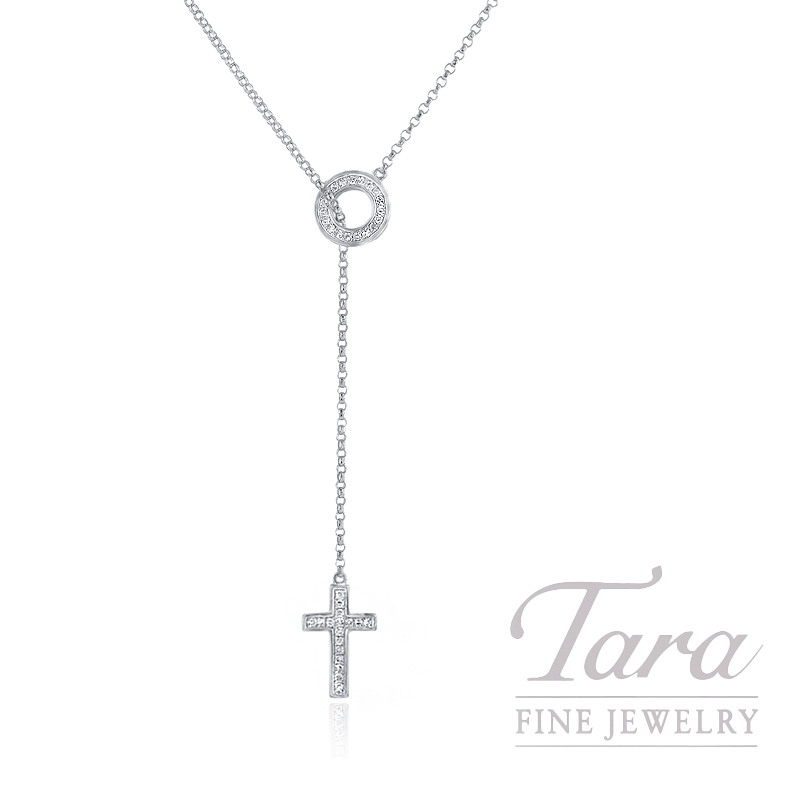 18K White Gold Diamond Cross and Circle Lariat Necklace, 1.8G, .10TDW