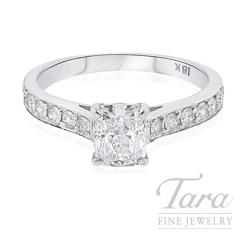 Forevermark 18K White Gold Cushion Diamond Engagement Ring, 1.09CT Cushion Diamond, .42TDW
