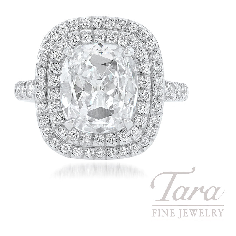 Platinum Cushion Diamond Double Halo Engagement Ring, 2.37CT Cushion Cut Diamond, 7.4G, .70TDW (Center Stone Sold Separately)