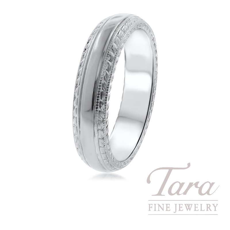 Gentlemen's 19k White Gold Wedding Band, 13.6G, 6MM
