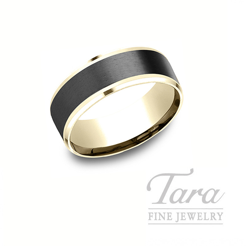 Gentlemen's 18k Yellow Gold and Black Titanium Wedding Band, 11.5G