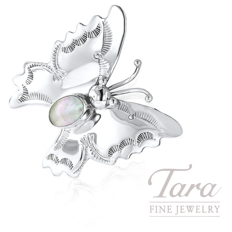 Handmade Sterling Butterfly Pin Brooch With Fresh Water Pearl 4.5G