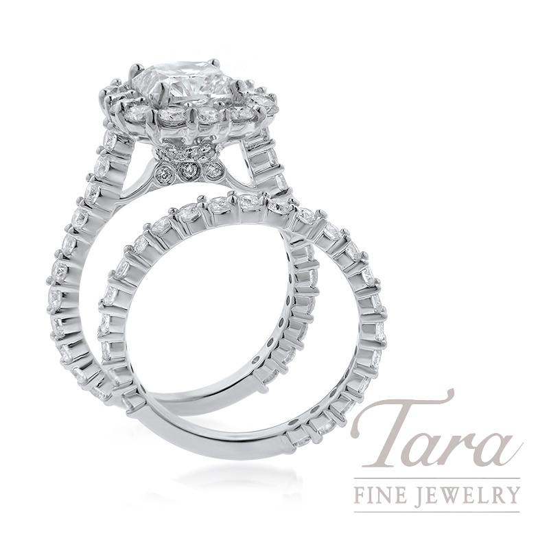 18K White Gold Cushion Diamond Halo Wedding Set, 2.52CT Cushion Diamond, 7.06G, 2.21TDW,