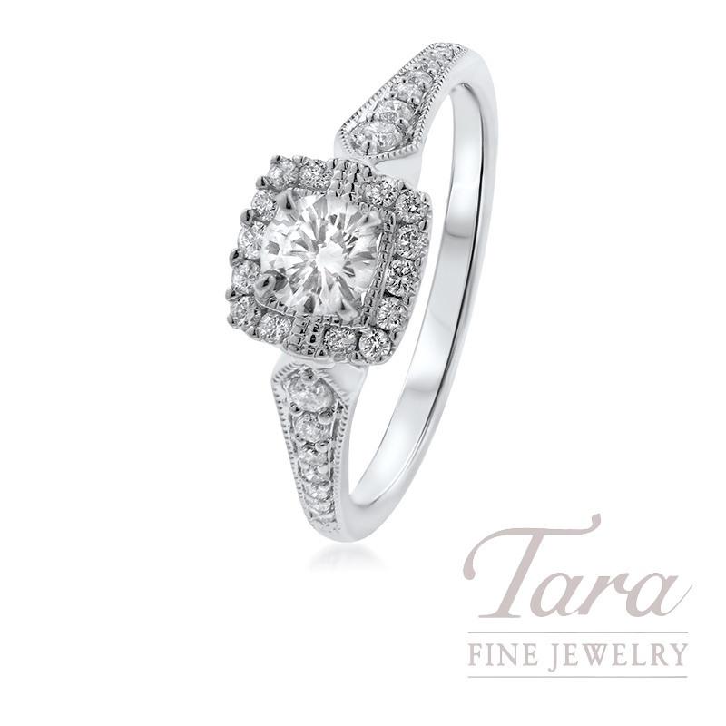14K White Gold Diamond Engagement Ring, .29CT Center Diamond, .20TDW