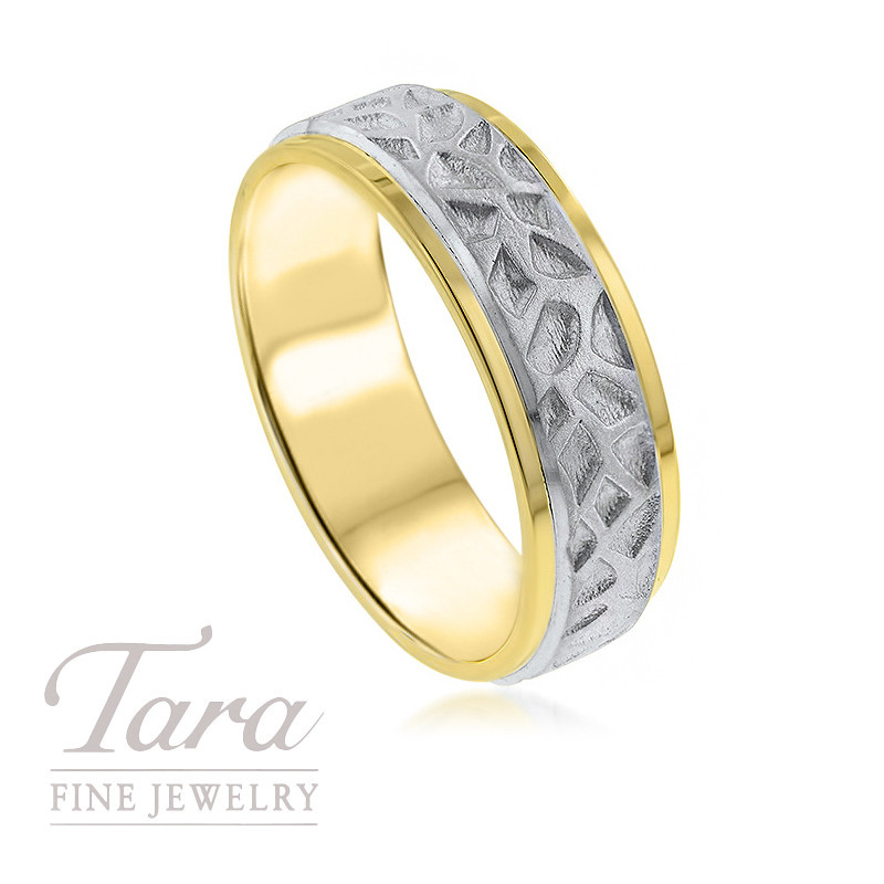 Gentlemen's 18k Yellow and White Gold Textured Wedding Band, 9.8G