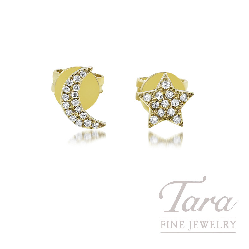 18k Yellow Gold Star Moon Earrings 1 2 Grams 28 Round