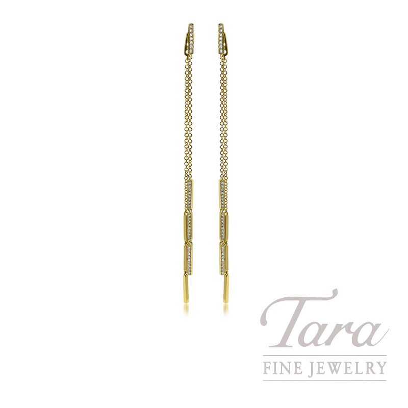18K Yellow Gold Diamond Dangle Earrings, 3.7G, .28TDW