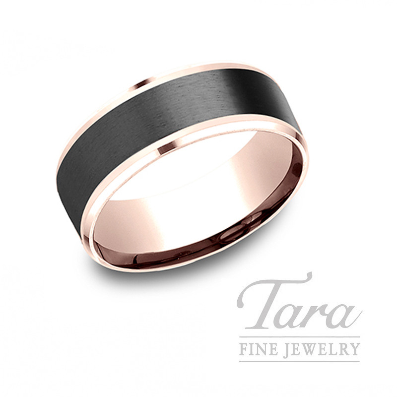 Gentlemen's 14k Rose Gold and Black Titanium Wedding Band, 9.9G