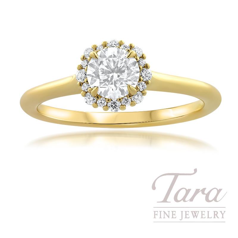Forevermark 18K Yellow Gold Diamond Engagement Ring, Round Center Diamond 0.53 J-SI2, 16 Round Stones 0.10TDW
