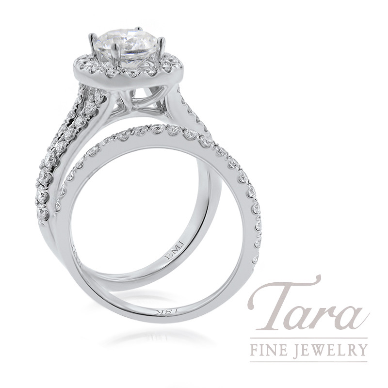 18K White Gold Diamond Halo Wedding Set, 1.05TDW (Center Stone Sold Separately)