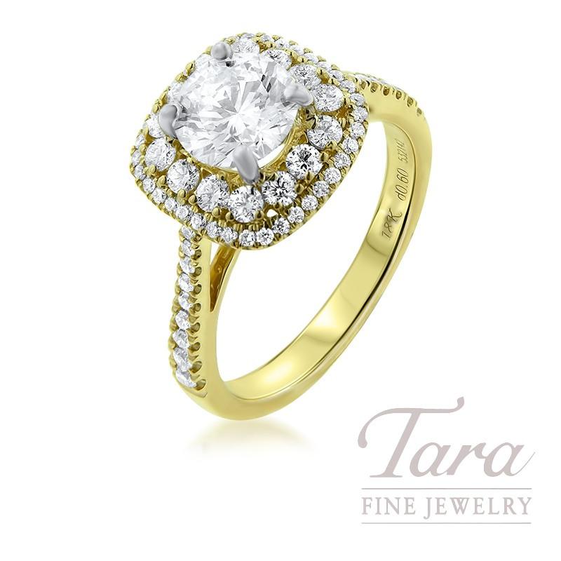Simon G 18K Yellow Gold Diamond Engagement Ring, 1.28CT Round Diamond, 5.1G, .60TDW