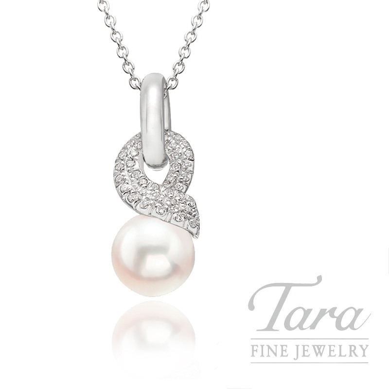Mikimoto Pearl & Diamond Pendant in 18K White Gold, .22tdw