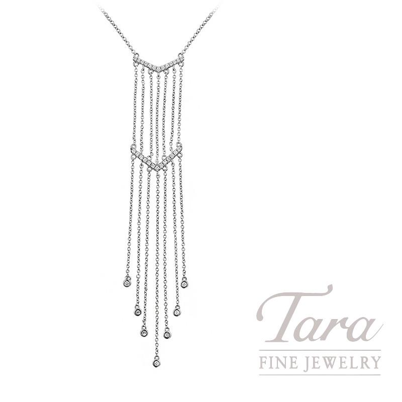 "18K White Gold Diamond Dangle Necklace, 17/18"" Chain, 4.4G, .21TDW"