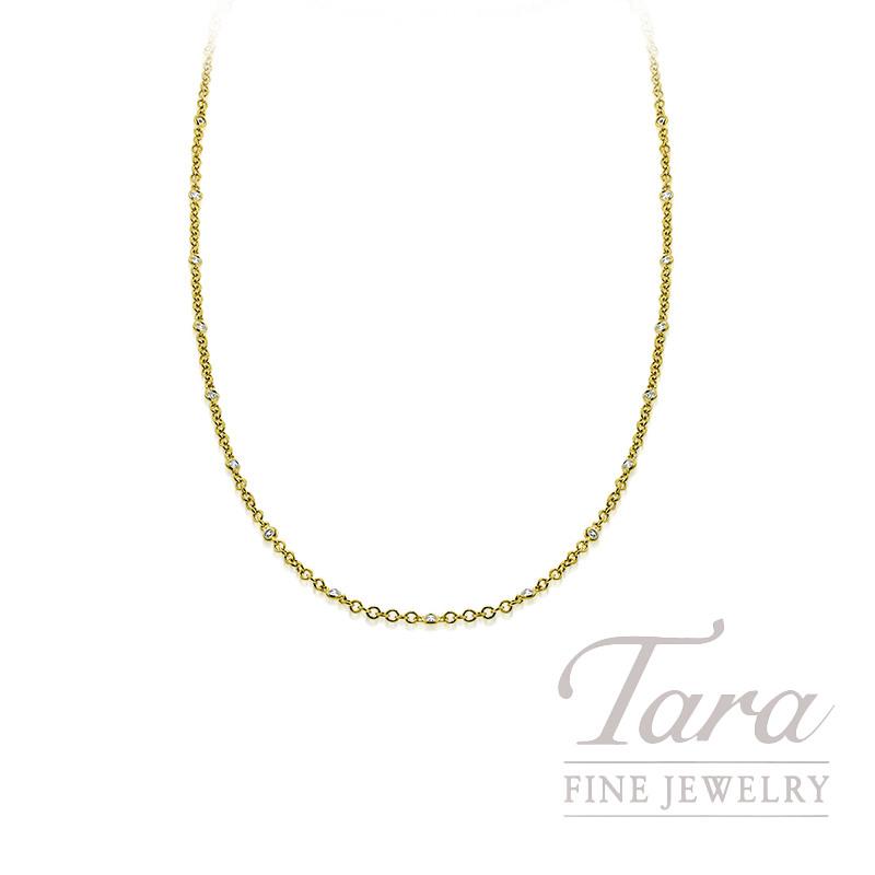 "18K Yellow Gold Bezel Diamond Chain Necklace, 16/18"" Chain, 5.6G, .65TDW"