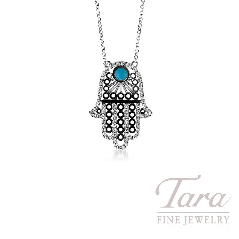 18K White Gold Hamsa Pendant w/ .38TDW and One Round Turquoise
