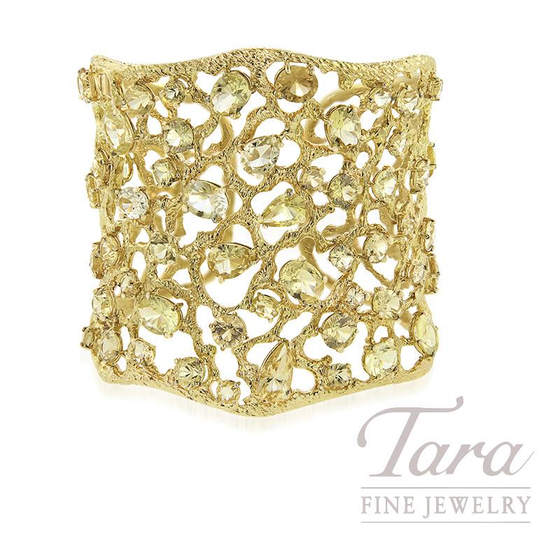 "Roberto Coin 18k Yellow Gold Danburite Gemstone Bangle Bracelet, 34.80TGW, ""Tanaquilla"" Collection"