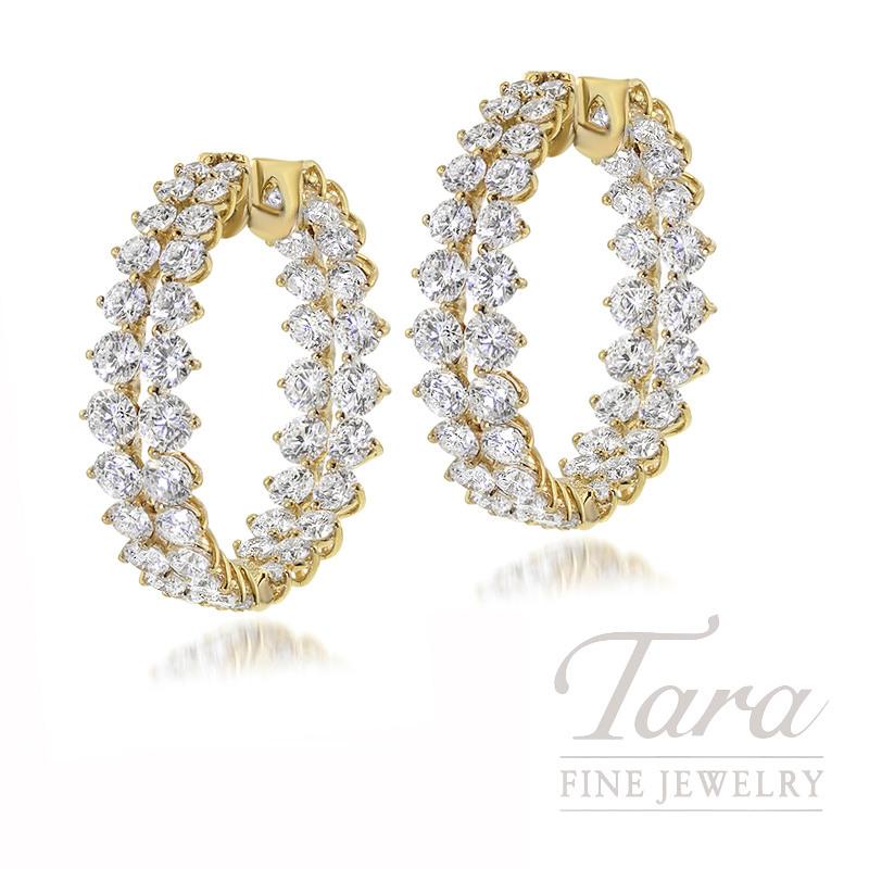 18k Yellow Gold Two Row Inside Out Diamond Hoop Earrings 6 0g 5 63tdw