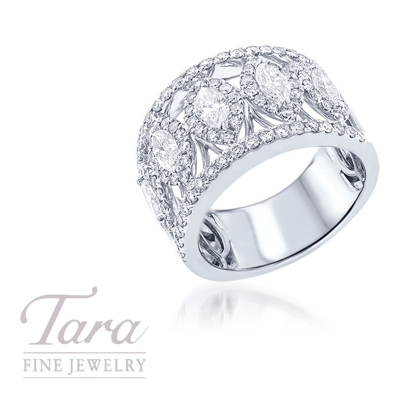 18k White Gold Marquise Diamond Band, 1.15TDW Marquise, 1.03TDW Rounds