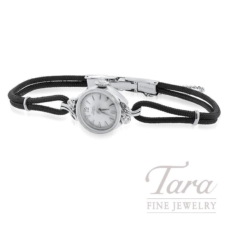 14K White Gold Girard-Perregaux Ladies Estate Watch, 2 Diamonds
