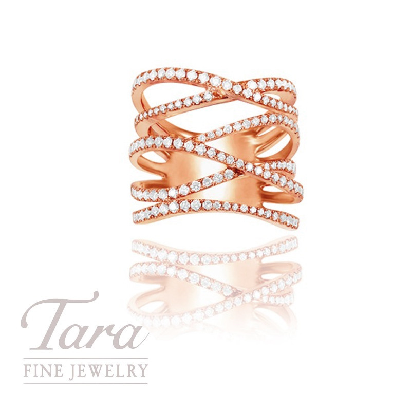 18k Rose Gold Criss-Cross Diamond Ring, 11.0G, 1.22TDW