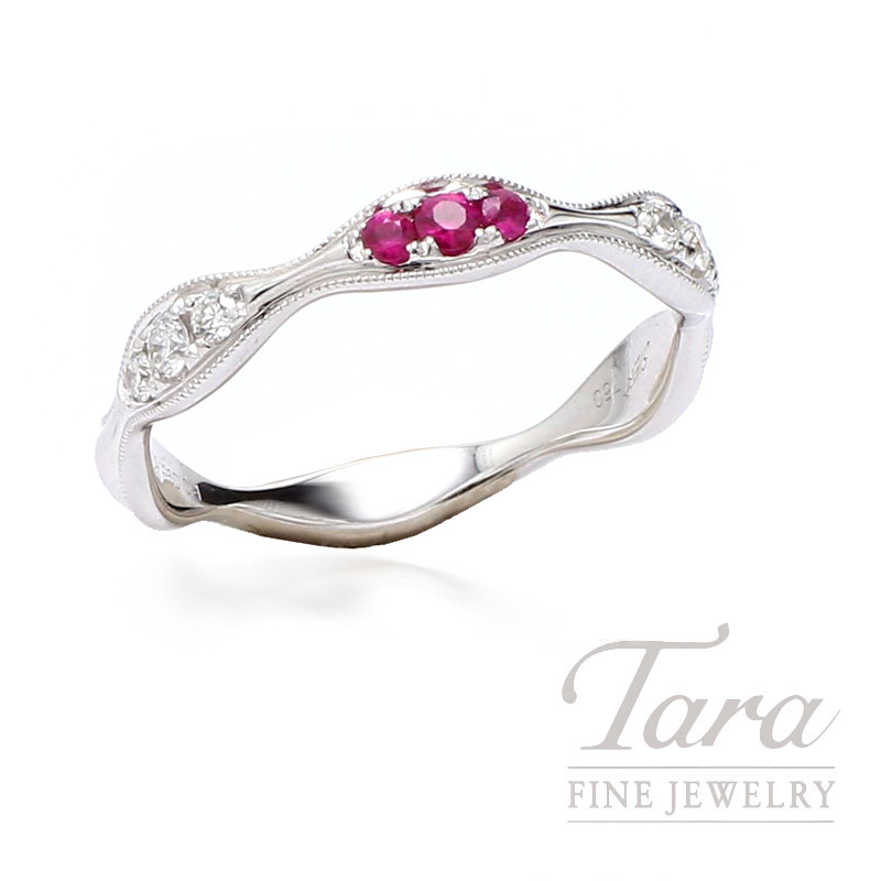 5688f02d744f1 18K White Gold Stackable Diamond and Ruby Band, 6 Round Diamonds 0.14TDW, 3  Round Rubies 0.09TGW