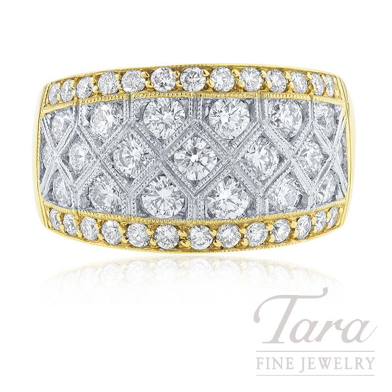 18k Yellow and White Gold Diamond Ring, 12.0G, 1.72TDW