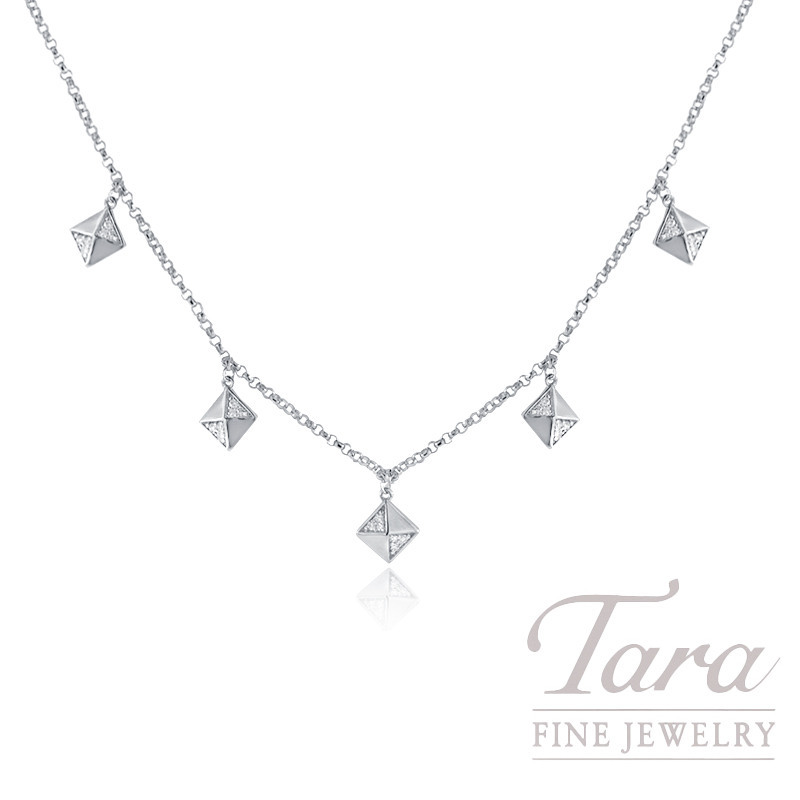 18k White Gold Pave Diamond Square Stationary Necklace, .07TDW