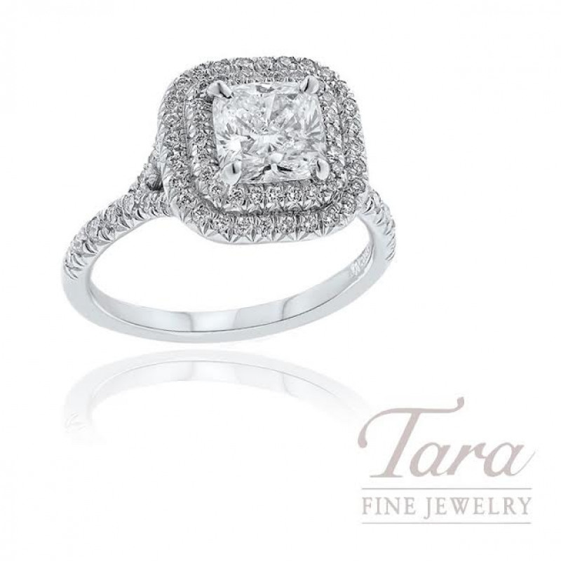 18K White Gold Double Halo Cushion Diamond Engagement Ring, 5.7G, 1.51CT Cushion Diamond, .51TDW Round Diamonds