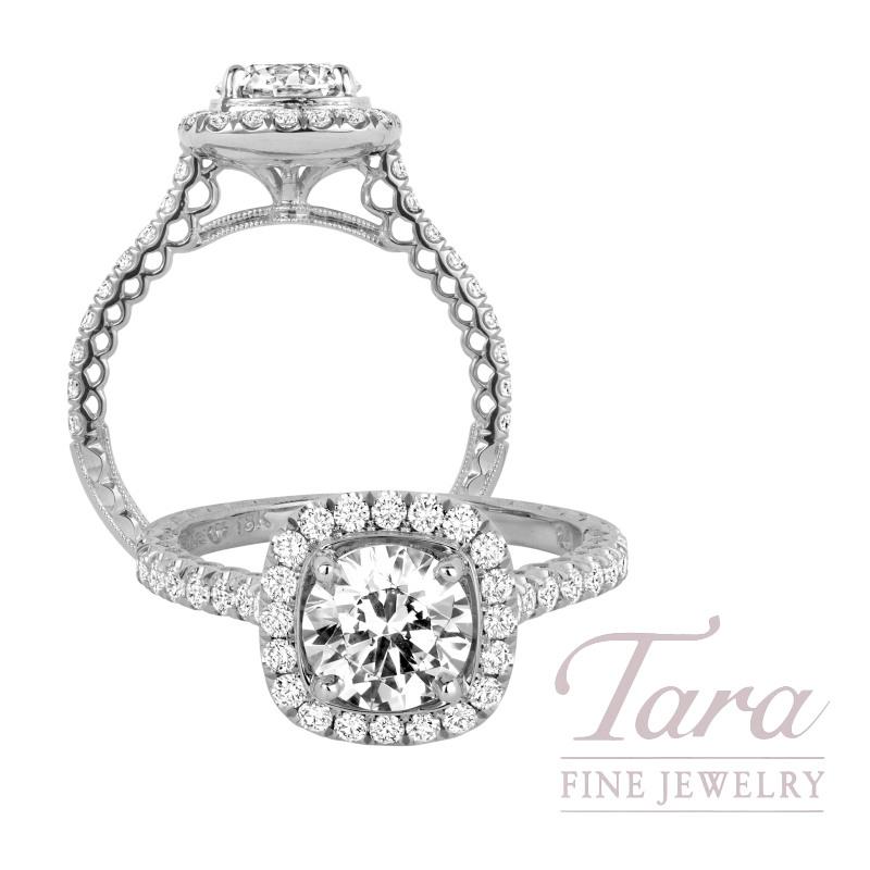 Jack Kelege 18k White Gold Diamond Halo Engagement Ring, 4.2G, .65TDW (Center Stone Sold Separately)