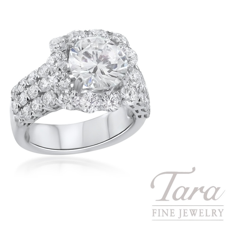 18K White Gold Diamond Halo Engagement Ring, 9.3G, 2.70TDW (Center Stone Sold Separately)