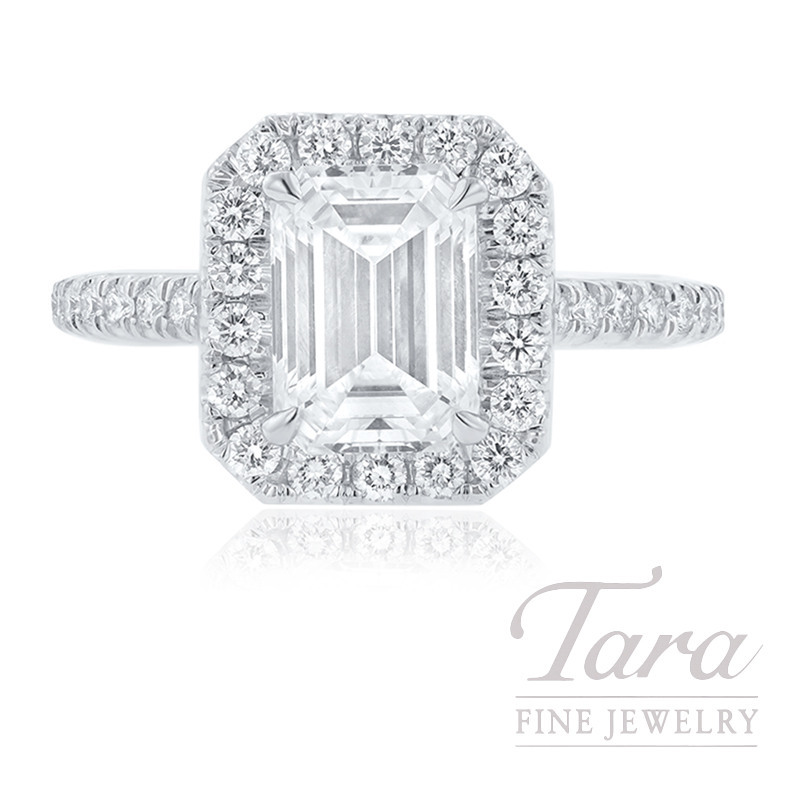 18K White Gold Emerald Cut Diamond Halo Engagement Ring, 2.01CT Emerald Cut Diamond, .53TDW (Center Stone Sold Separately)