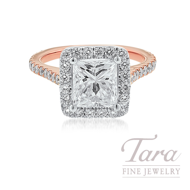 18K Rose Gold and White Gold Princess Cut Diamond Halo Engagement Ring, 2.01CT Princess Cut Diamond, .68TDW (Center Stone Sold Separately)