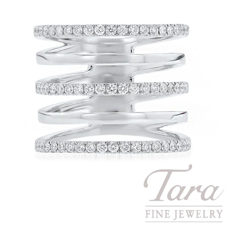 18K White Gold Diamond Geometric Ring, .59TDW