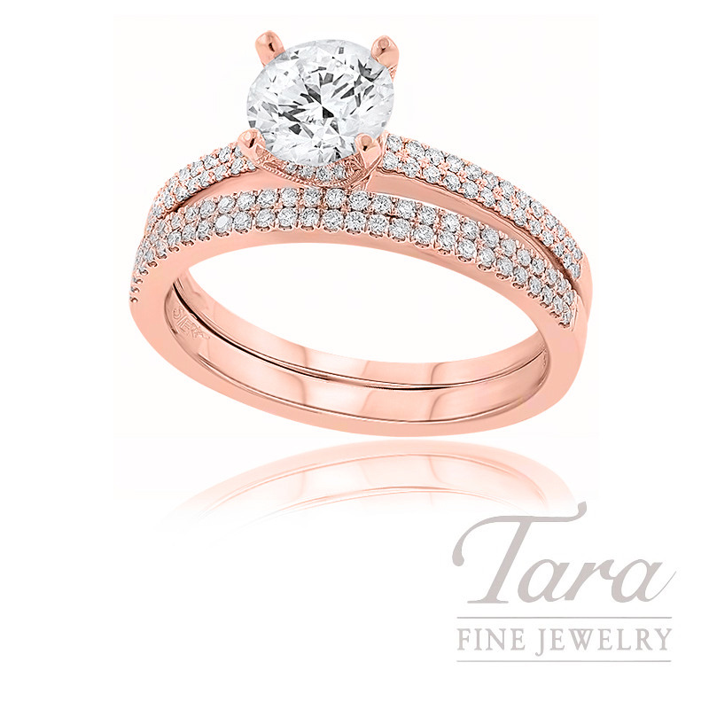 18k Rose Gold Diamond Wedding Set, .32TDW (Center Stone Sold Separately)