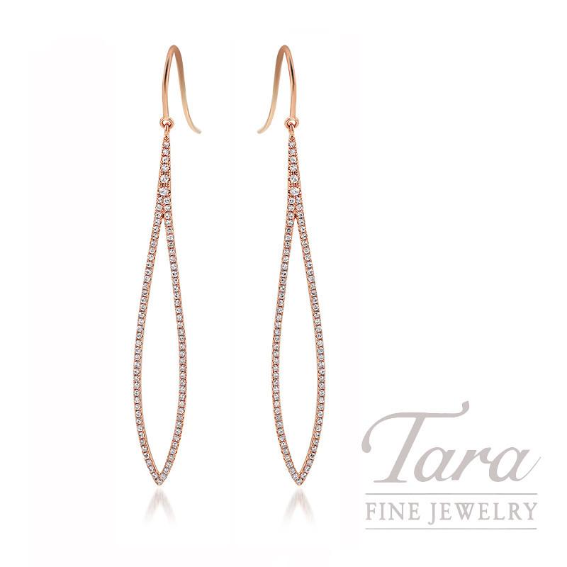 18K Rose Gold Diamond Dangle Earrings, 2.6G, .51TDW