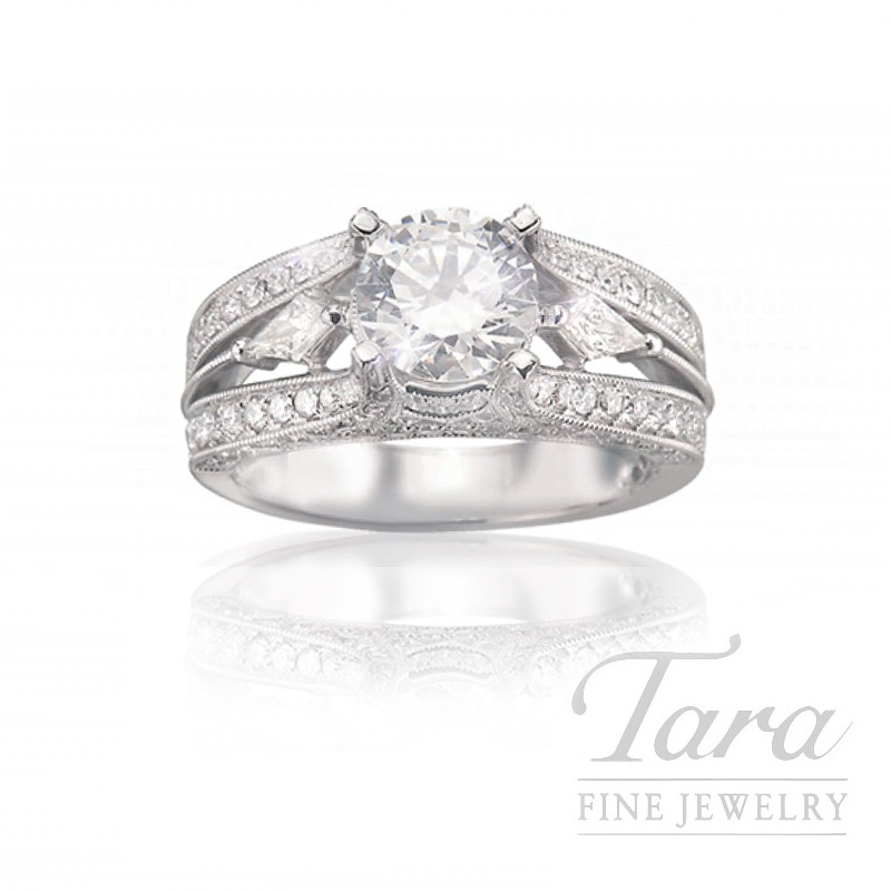 18k White Gold Diamond Engagement Ring, .82TDW (Center Stone Sold Separately)