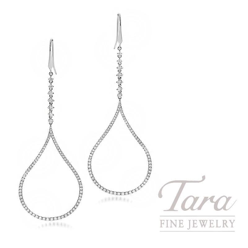18K White Gold Diamond Drop Dangle Earrings, 6.8G, 1.88TDW