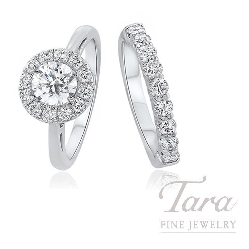 14K White Gold Diamond Halo Wedding Set, .95TDW (Center Stone Sold Separately)