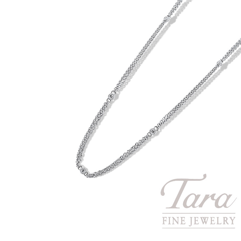 "18K White Gold Diamond Bezel Double Chain Necklace, 16/18"", 4.2G, .17TDW"